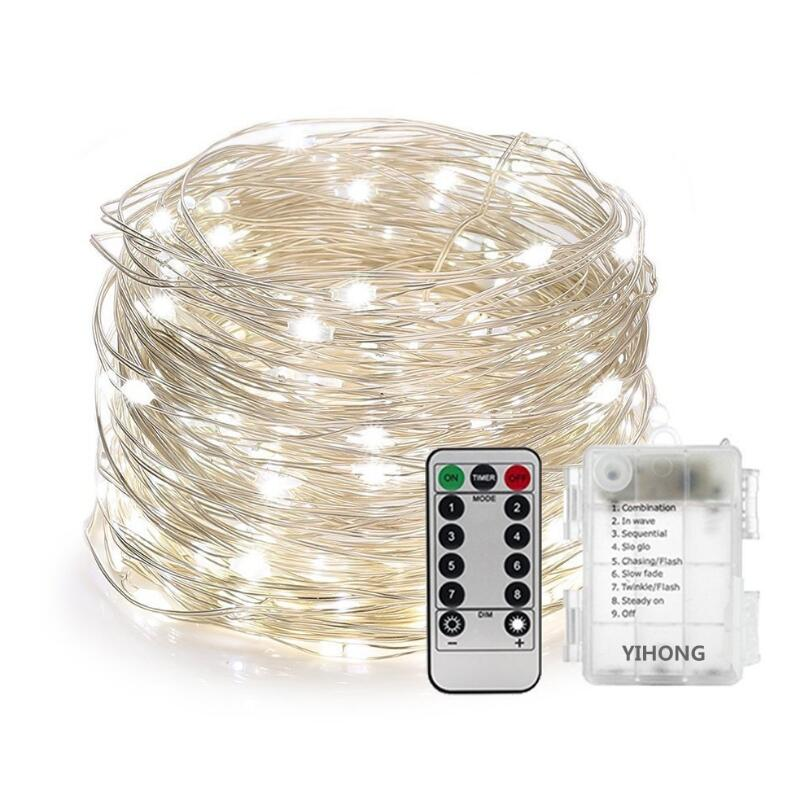 Battery Operated 5M 10M 20M Waterproof 8 Modes Copper Silver Wire LED String Light Remote Control Decor Xmas Fairy Garland Light