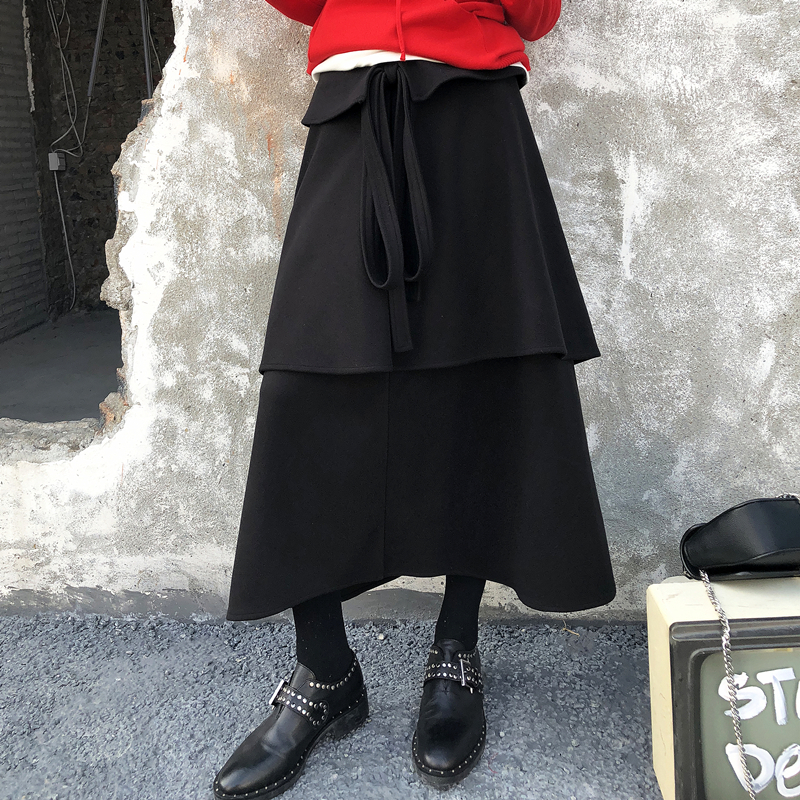 Black Suelta Tamaño Negro Shengpalae Las Nuevo Gran Coreana Costura De Casuales Moda Primavera Mujeres 2019 Fl062 Falda Volantes qUFUPwTzx