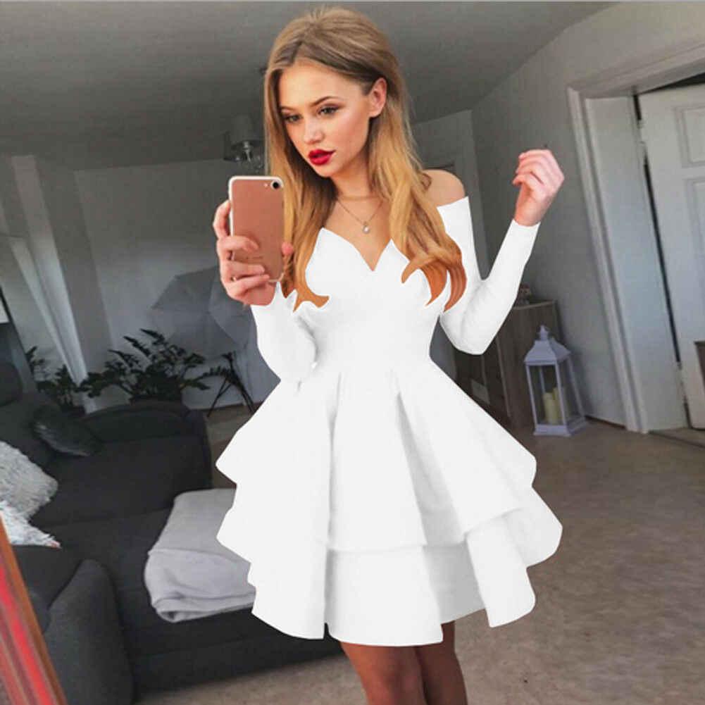 Date solide col en v à manches longues sexy été slim un mot col femmes Bandage moulante soirée Club courte Mini robe
