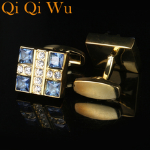 2017 New Luxury Shirt Cufflink Men's Brand Buttons Crystal Cuff link Gold High Quality French Cufflinks Shirt Gemelos Jewelry