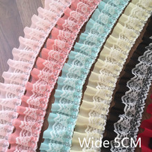 5cm Wide Multi Colors Pleated Chiffon Fold Lace Embroidered Ribbons Trim For Sewing Diy Crafts Curtains Garment Dress Hem Decor