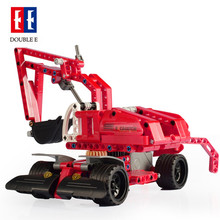 Cada Double E Wheel Loader Bulldozer Excavator Car Building Blocks Bricks Technic Series Education C52012W Toys For Children Kid