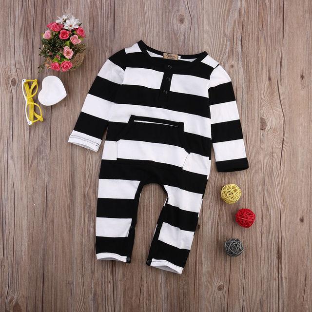 Pasgeboren Baby Jongen Meisjes Gestreepte Katoenen Romper Lange Mouw Jumpsuit Outfit Kleding 1