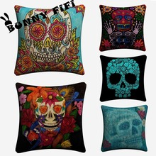 Skull Flower Abstract Cushion Covers DIY Decorative Square Throw Pillow Cover Chair Sofa Seat Car Cotton Linen Pillowcase Soft цены