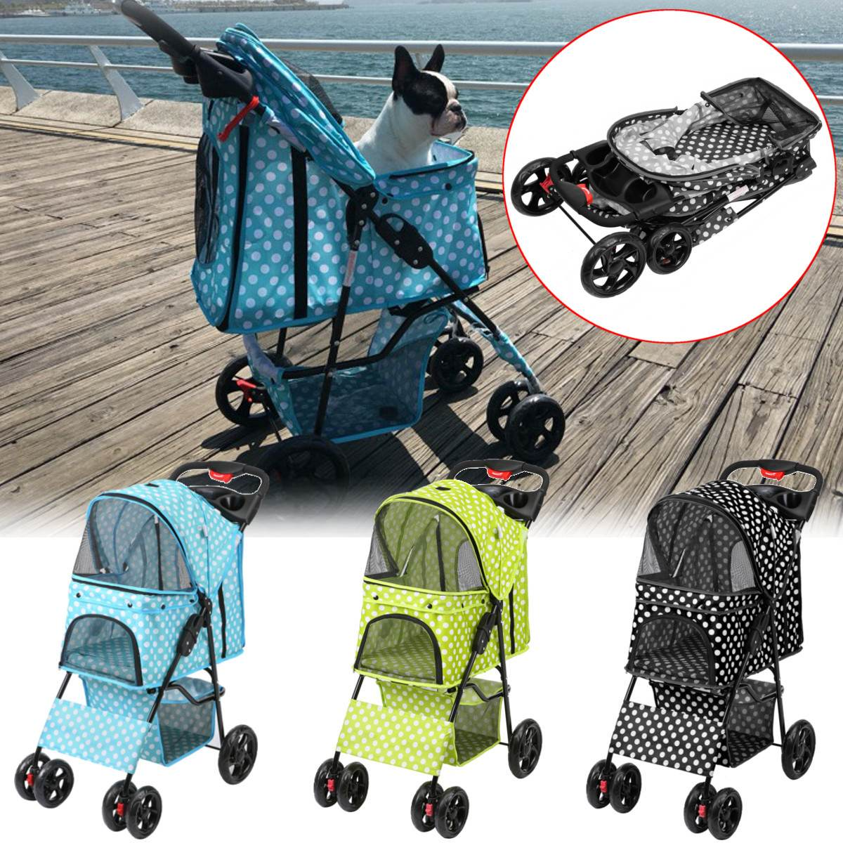 3 Colors Pet Stroller Sitting Lying Foldable Lightweight Pushchair Stroller Cart Cat Dog Pet Carriers Bag