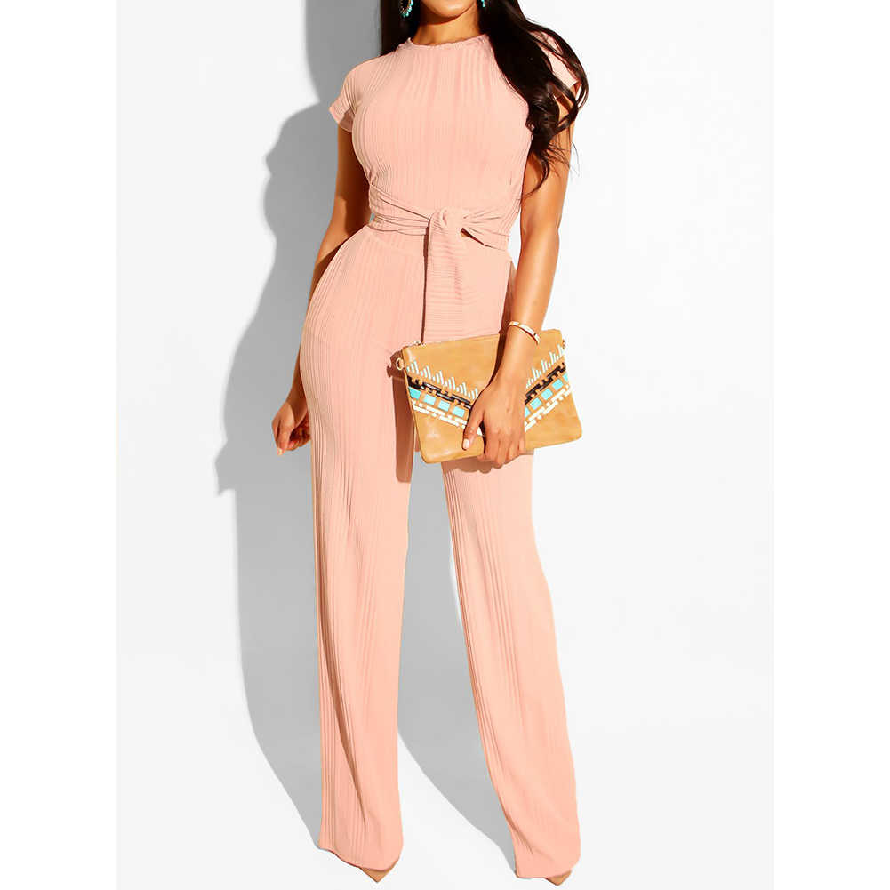 Two Piece Set Women's Fashion Bandage Tracksuits Outfits Casual 2Pcs O-Neck Short Sleeve Crop Tops+ Long Wide Leg Pants Suits