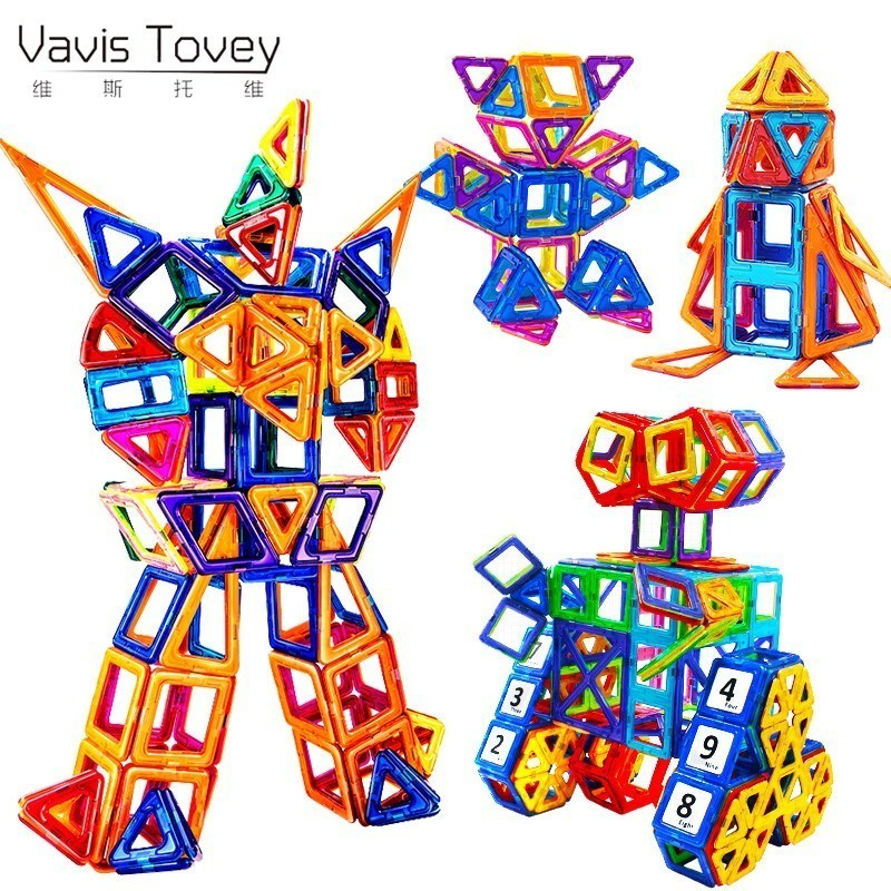 Vavis Tovey Models Mini Magnetic piece Educational Construction Set Castle & Robot Toy ABS Magnet Designer Kids Gift