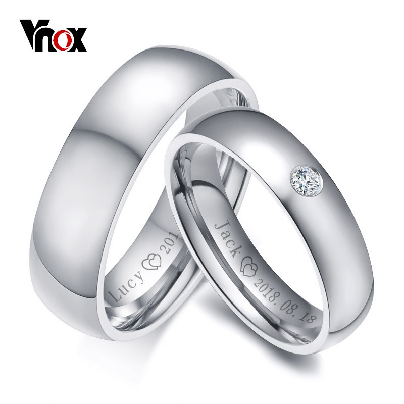 Vnox Rings Wedding-Bands Name-Date Anniversary Alliance Promise Customize Personalized