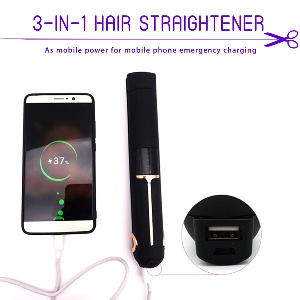 3-en-1 fer à lisser sans fil USB recharge bigoudi chauffage rapide 3D planche flottante LED affichage cheveux plat fer batterie externe