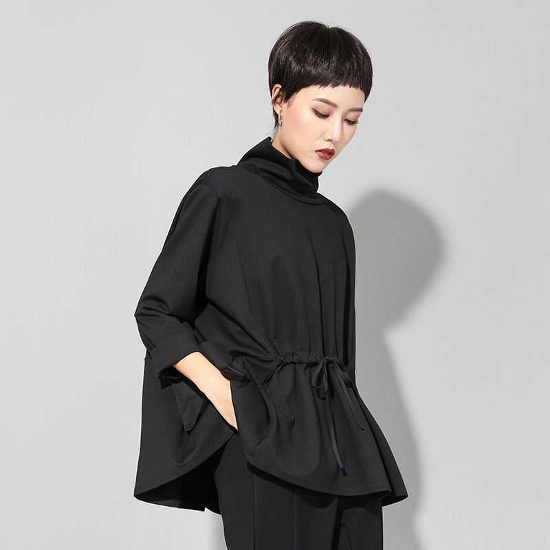 Image 4 - Max LuLu Spring Luxury European Fashion Vintage Ladies Black T  shirt Turtleneck Tops Cotton Casual Womens Long Sleeve Tee  ShirtsT-Shirts