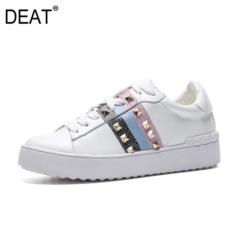 DEAT 2019 New Spring Summer Round Toe Lace up Mixed Colors Rivet White Causal Single