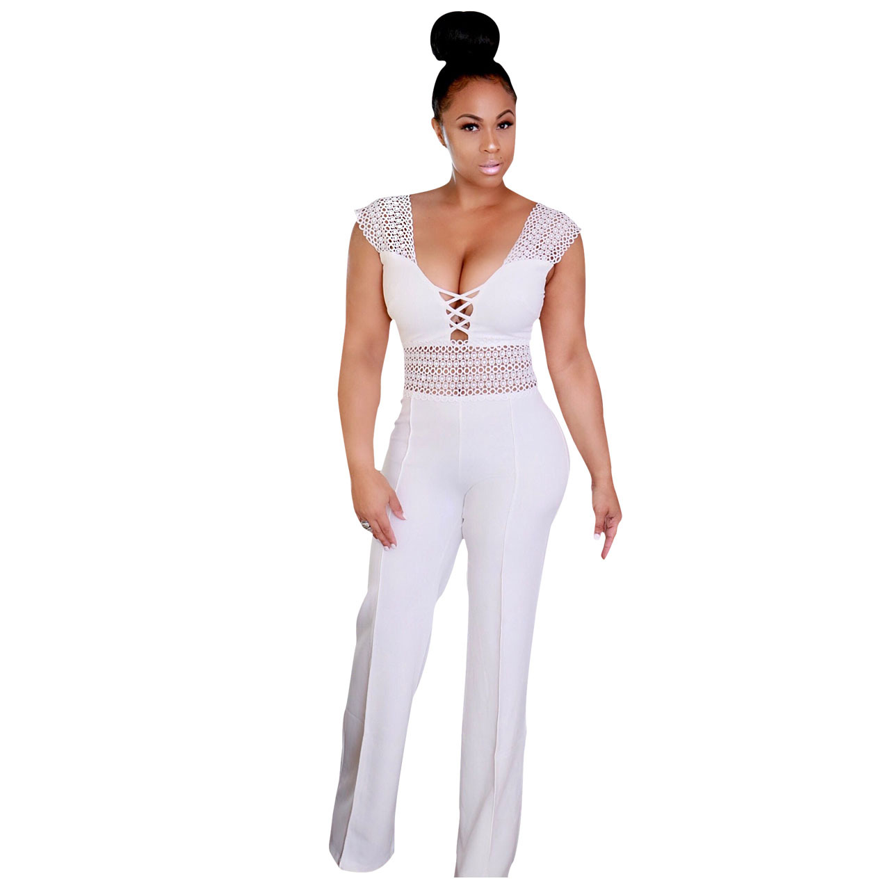 Genuo Women Lace Hollow Out Sexy Jumpsuit Patchwork Sleeve Cut Rompers High Waist Zipper Sleeveless Bodysuits Club Wear