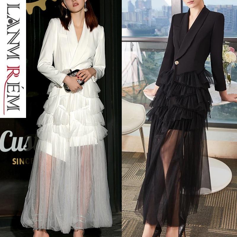 LANMREM 2019 New Fashion V neck Dress Slim Long Pleated Patchwork Hemline Mesh Dress Female s
