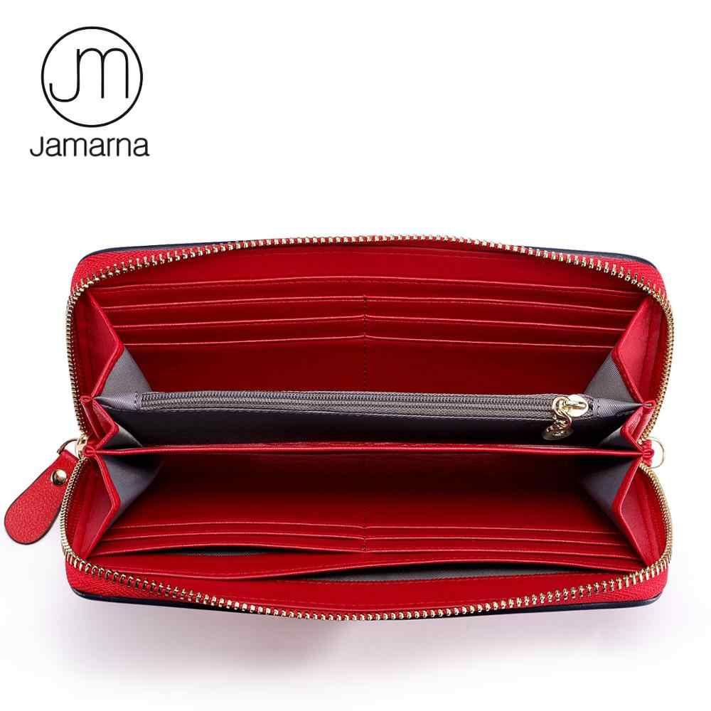 Jamarna portefeuille femme en cuir véritable portefeuille femmes longue pochette fermeture éclair femmes sac à main porte-carte classique rouge blanc et bleu Design