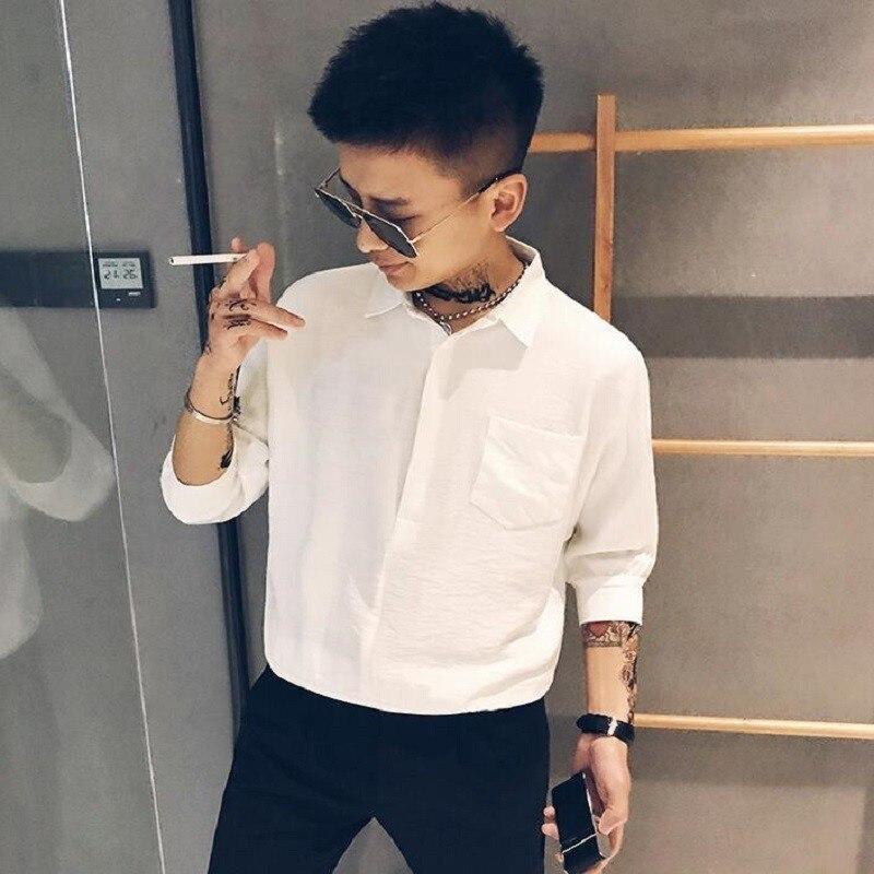English alphabet printing mens shirt street tide casual short-sleeved summer clothing camisa masculina slim fit shirts men