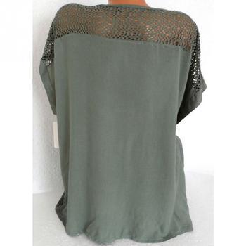 Women Blouse Plus Size XL-5XL Bat's wing sleeved V neck Tops shirt Fashion Lace Edge vestidos casual shirts 6