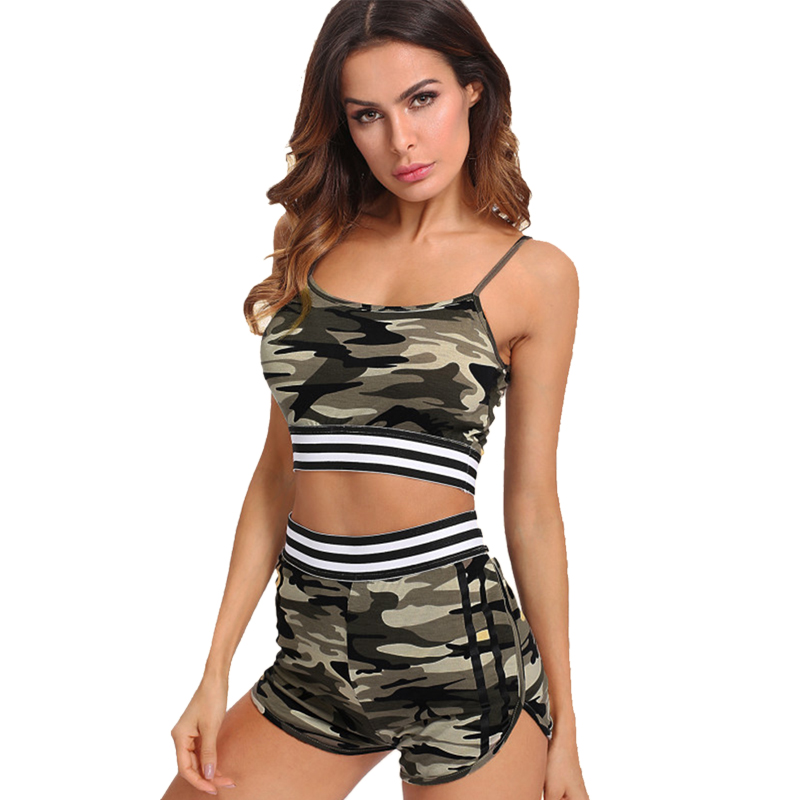 Women Two Piece Outfits Sexy Shorts Fitness Camouflage Vest Tank Top Sportswear Sport Clothing Suit Set