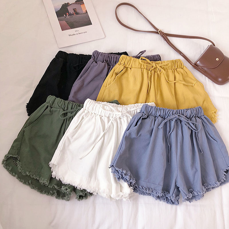 2019 Summer Women Drawstring   Shorts   Candy Color Summer Korean Fashion   Shorts   Ripped   Short   Pants