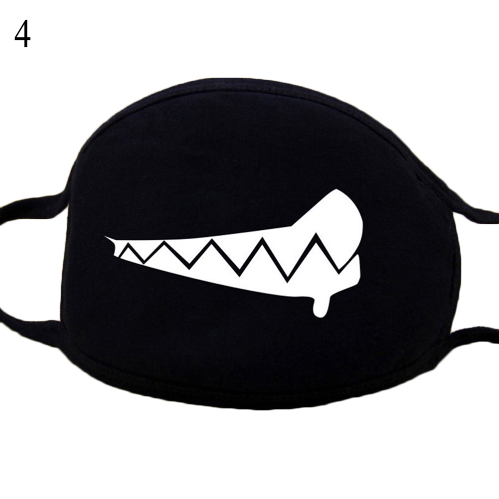 Unisex Cartoon Mask Funny Print Vampire Tooth Black Cotton Anti-Dust Anti-Fog Face Warm Mouth Mask Breathable Fashion Mask Black