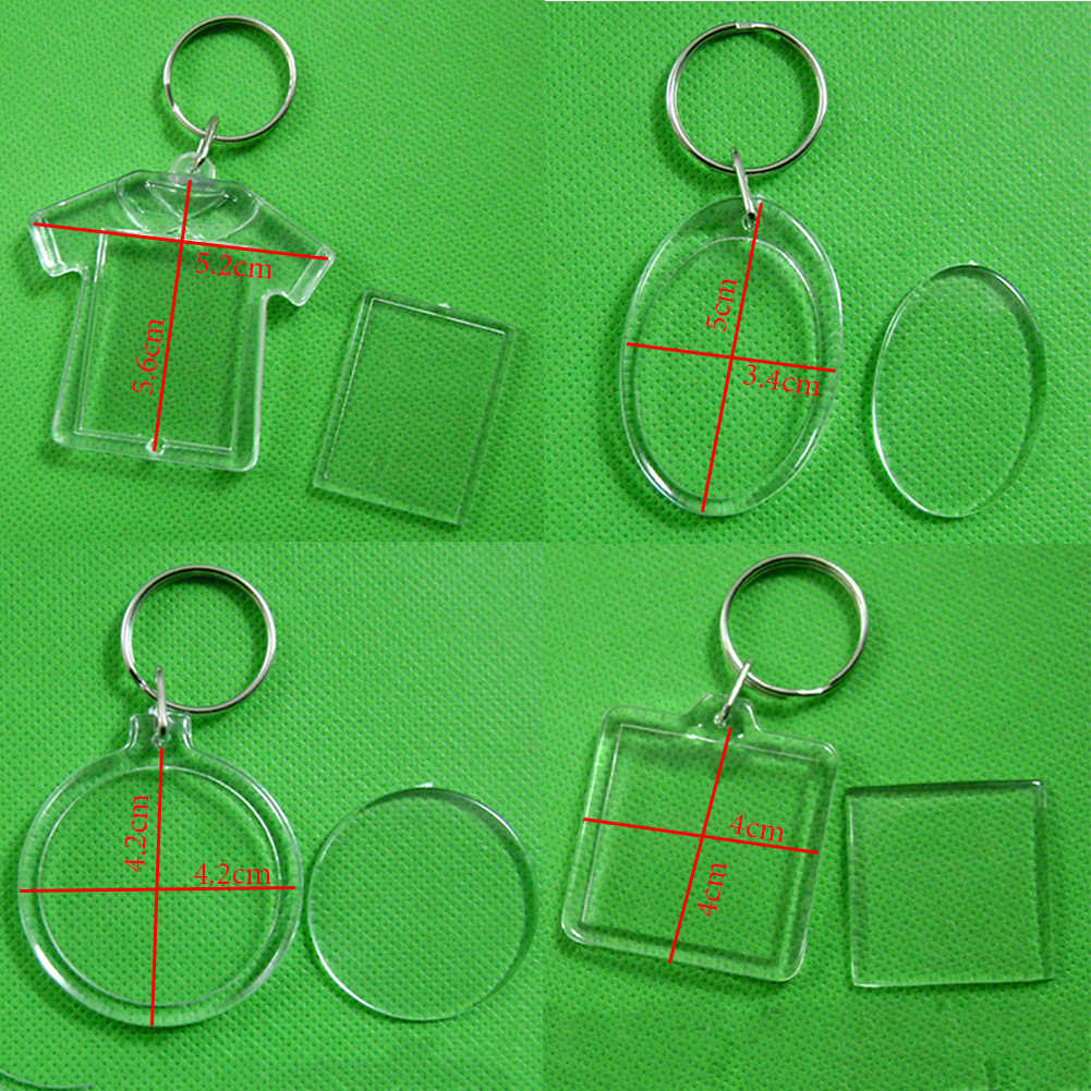 Personalized Transparent Acrylic Insert Photo Picture Frame  Advertising Keychains DIY Blank Square Circle Apple Shape Key Rings
