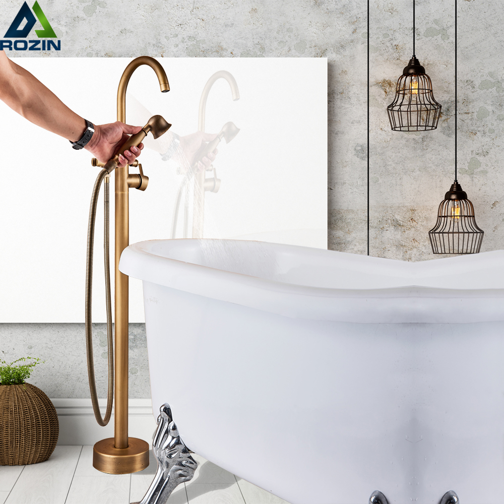Antique Brass Floor Mount Bath Tub Faucet Single Lever Swivel Spout Bath Shower Mixer Tap Free