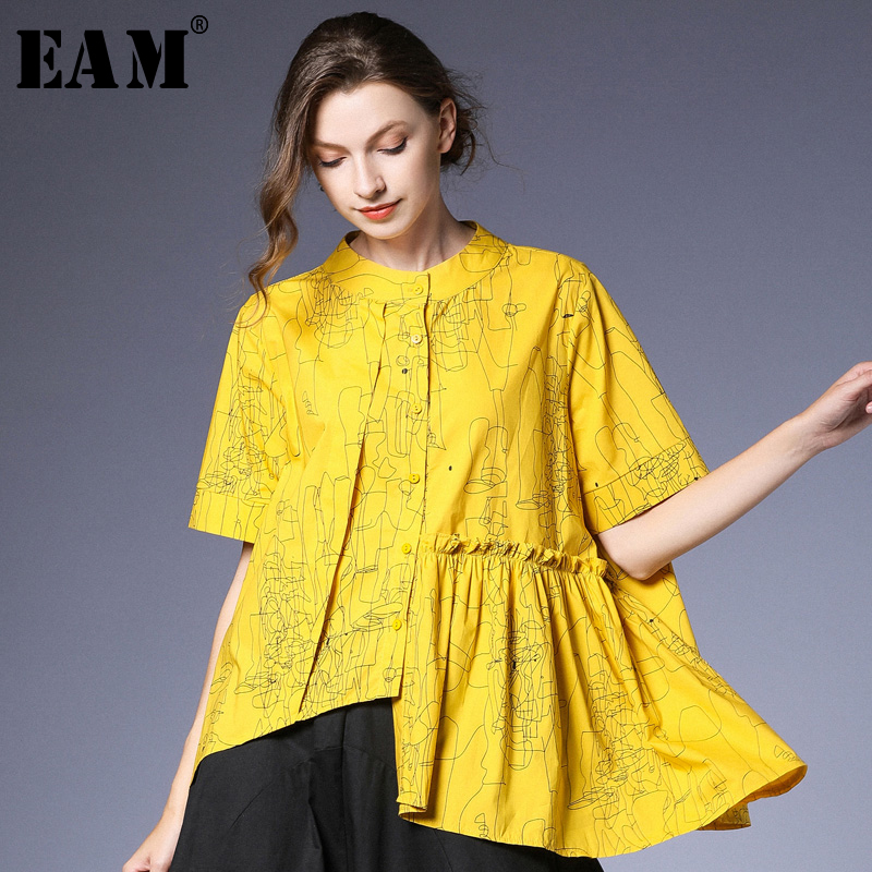 EAM 2019 New Spring Summer Stand Collr Half Sleeve Yellow Pattern Printed Irregular Big Size