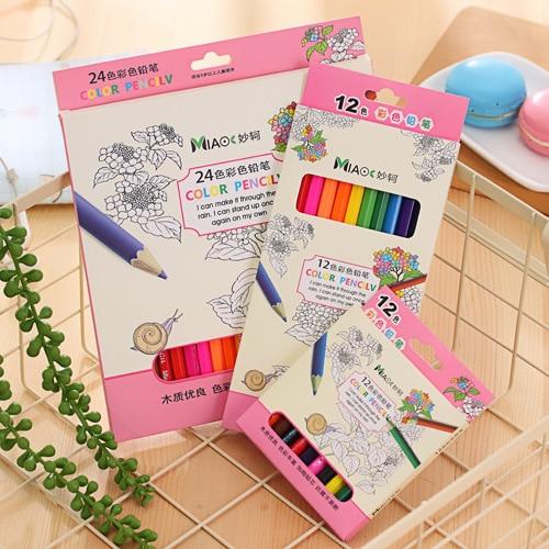 Colour Pencil 12/ 24 Color Boxed Arts Write Painting Doodle Children