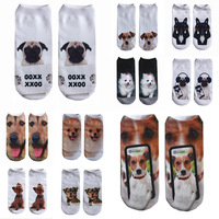 50 pieces / Pack Men Dog Cat Animals 3D Print Funny Novelty Cute Ankle Socks Pack Random Colors