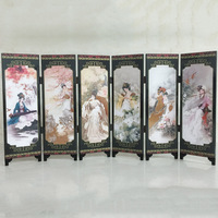 6 Panel Oriental Beauties Screen Room Divider Wood Folding Partition Top Quality