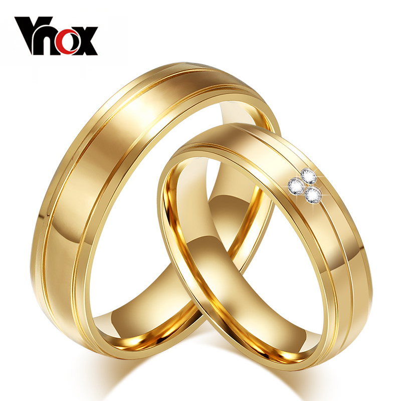 Vnox Engagement Couple Ring Wedding-Jewelry 316l-Stainless-Steel Love Gold-Color