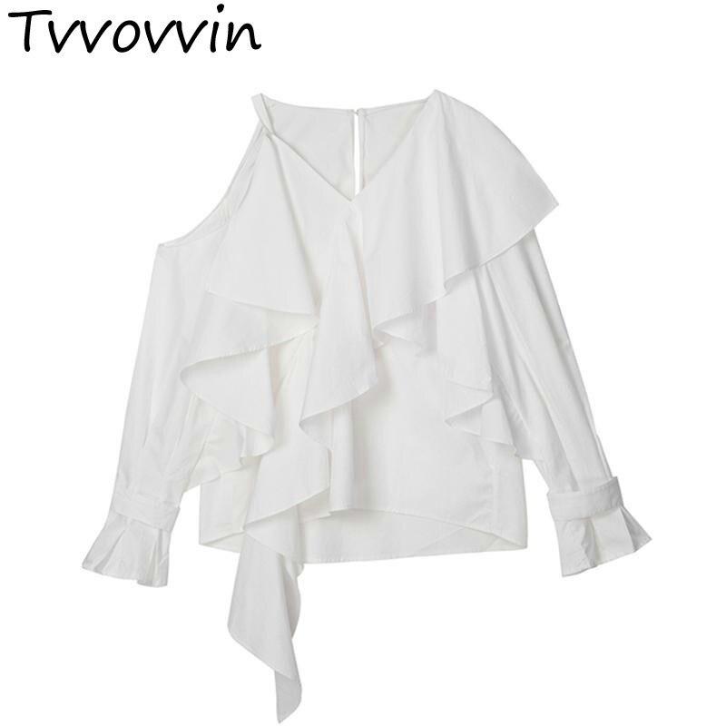 Femme chemise irrégulière à volants couture Flare manches femmes Blouses asymétrie creux sauvage chemises décontractées noir blanc AS022