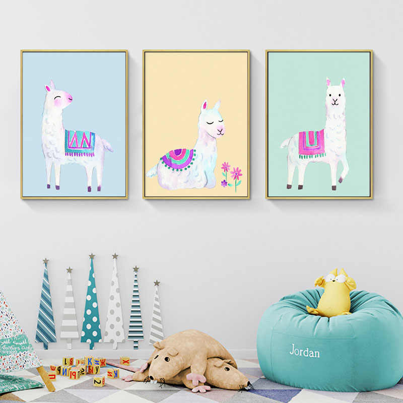 Cute Alpaca Llama Wall Art Canvas Poster Watercolor Animal Cartoon Print Nordic Kids Decorative Picture Kids Bedroom Decor
