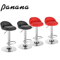 Panana 2pcs Bar Seat Pub PU Leather Swivel Kitchen Stools Adjustable Chair Dining Counter Black/ Red Fast Shipping
