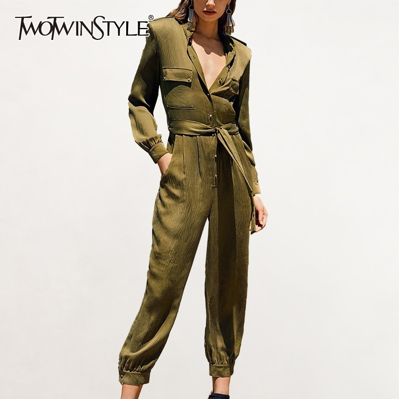 TWOTWINSTYLE Casual Solid Women   Jumpsuit   Stand Long Sleeve High Waist Ankle Length Pants Female Fashion Clothes Spring 2019