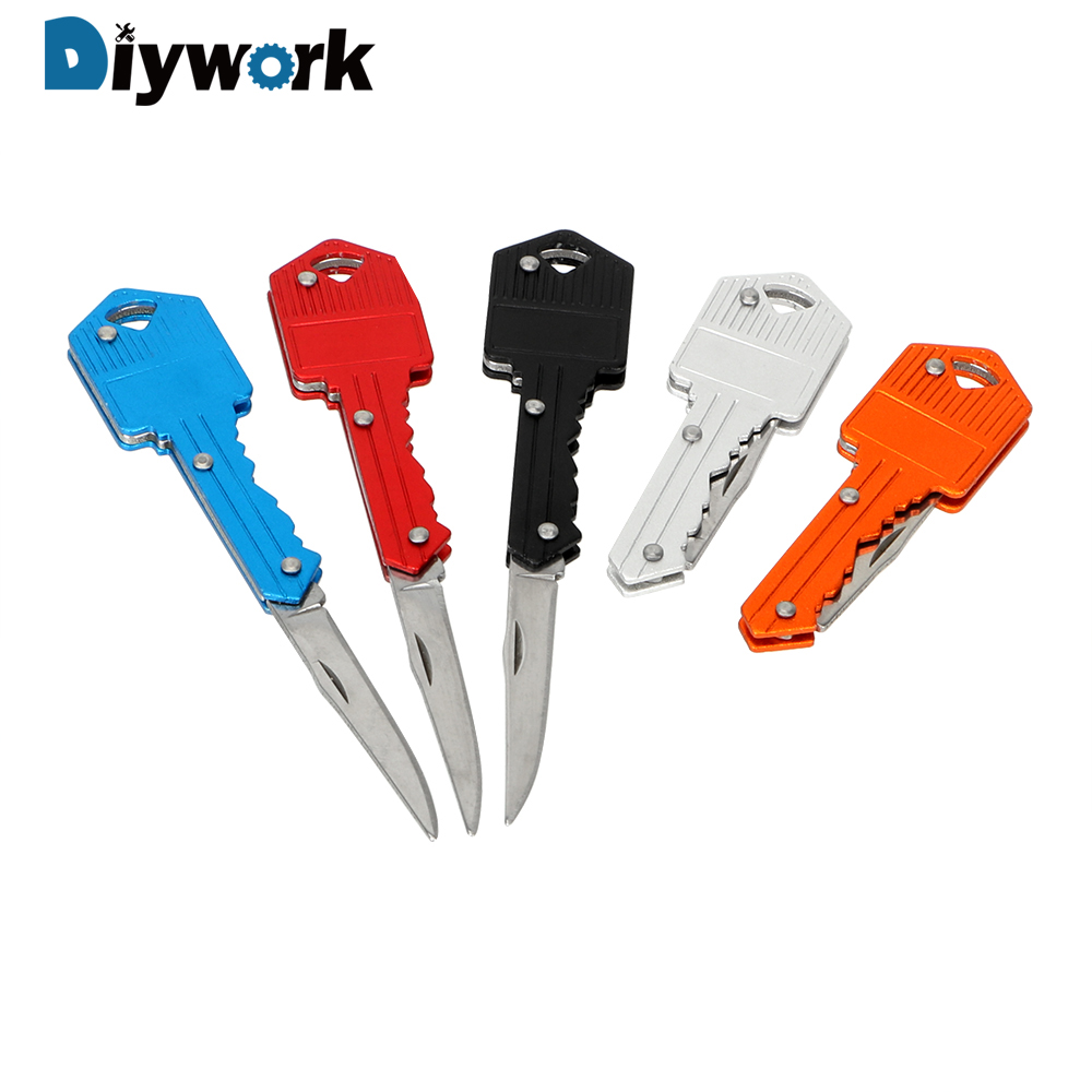 DIYWORK Mini Keychain Knife Paper Cutter Peeler Key Fold Knife Camping Outdoor Survive Tools Letter Box Opener Hand Tool Sets