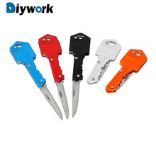 DIYWORK Mini Keychain Knife Paper Cutter Peeler Key Fold Knife Camping Outdoor Survive Tools Letter Box Opener Hand Tool Sets(China)