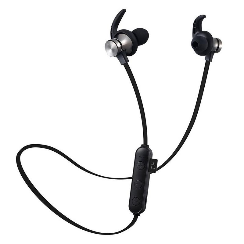 Bluetooth Sports Headphones Waterproof Sweatproof Wireless Stereo Sound With SD TF Card Slot Built-in Magnet To Prevent Loss