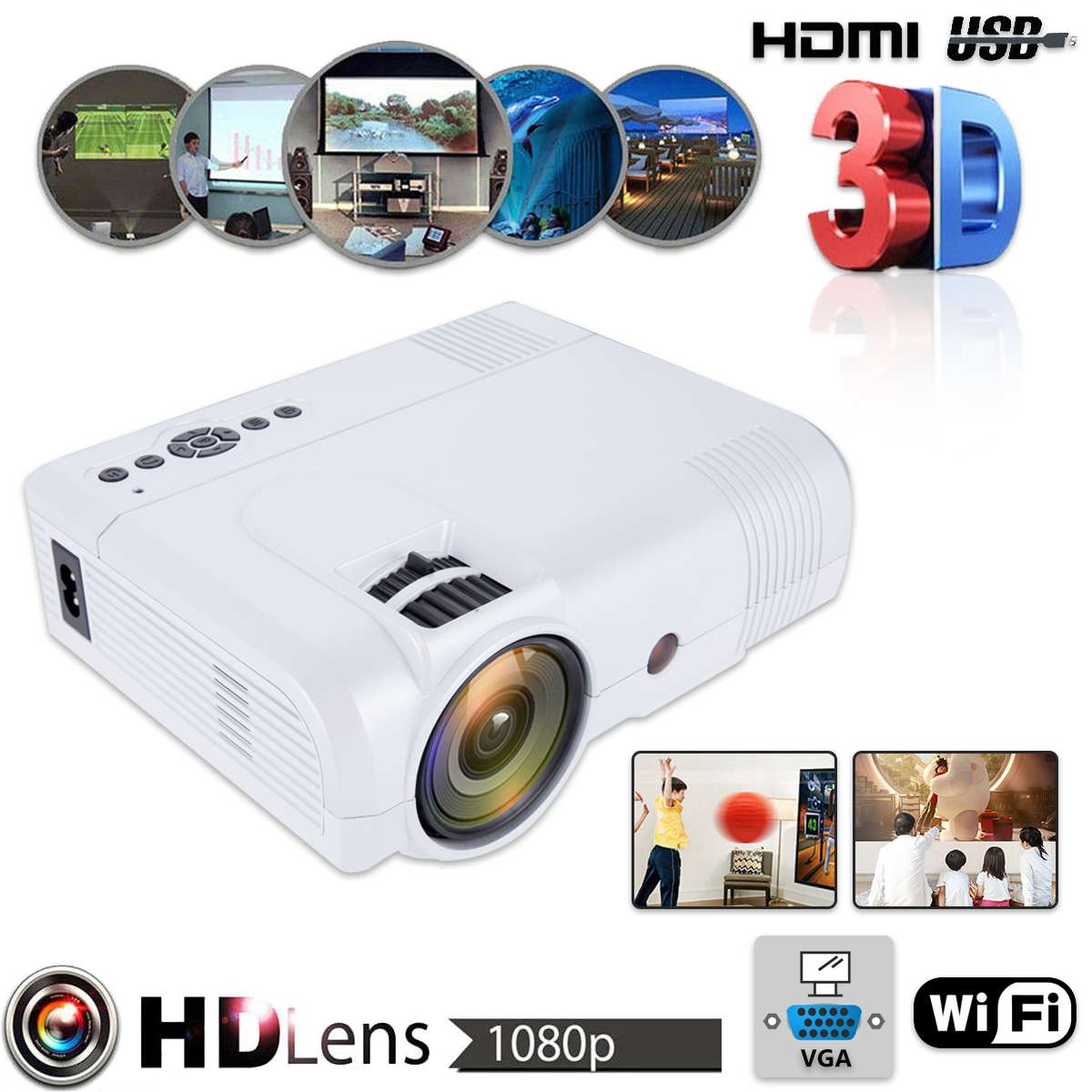 3D 1080P L8 WiFi Version Mini Projector Full HD Home Theater Projector Multimedia VGA USB HDMI LED Projector3D 1080P L8 WiFi Version Mini Projector Full HD Home Theater Projector Multimedia VGA USB HDMI LED Projector