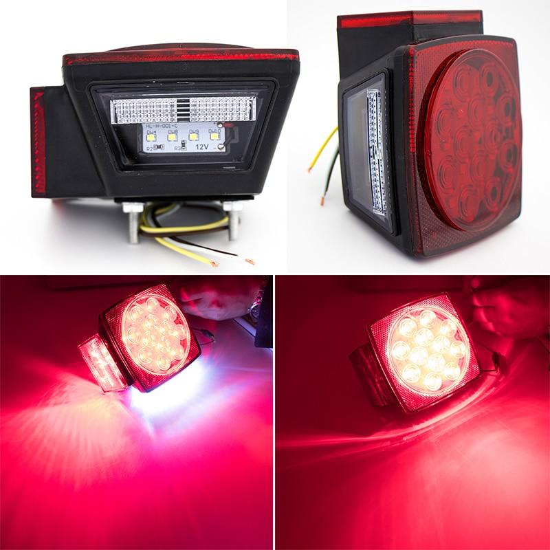 1 Pair HL H 001 Car Square LED Tail Lights Lamp For Trailer Truck Boat Waterproof DC 12V Plastic