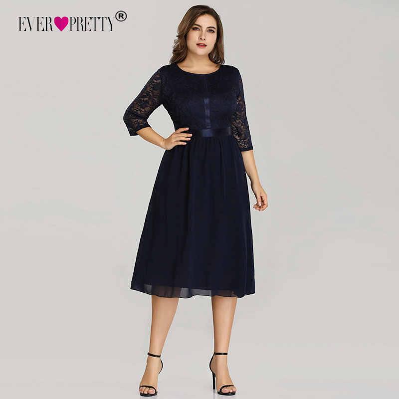 5e59b4f5c919 Plus Size Short Cocktail Dresses Ever Pretty EZ07641 Women's Cheap Elegant  Navy Blue A-line