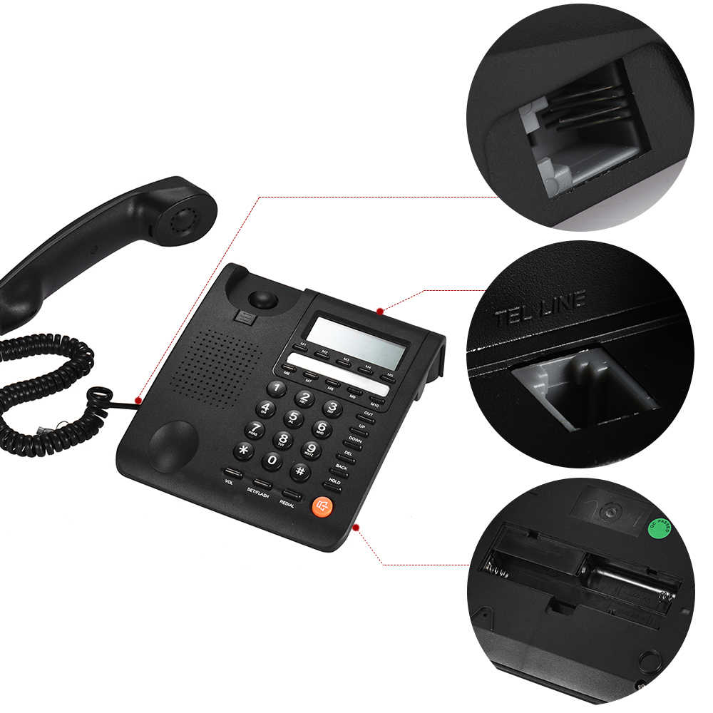 desktop corded telephone fixed phone lcd display for house home call center office company hotel  [ 1000 x 1000 Pixel ]