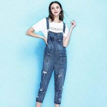 Denim bib female 2019 summer womens fashion holes retro overalls slim thin wild denim jumpsuits mujer NW19B6126