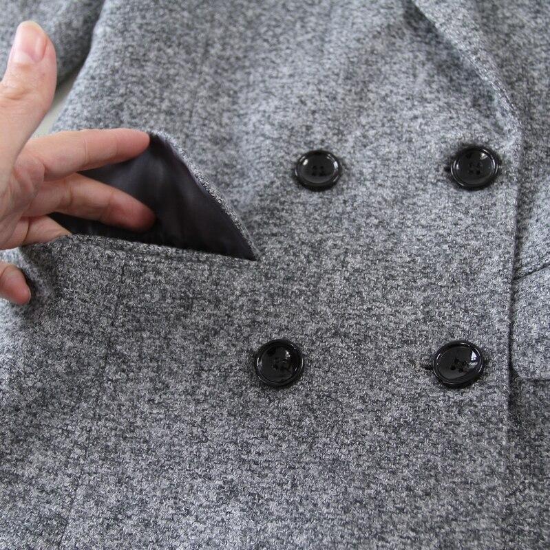 Mode 1 pièce D'hiver Laine À Mince Pantalon Costume Et Gris Nouvelle Double Suit2019autumn jambe De Large Manches Deux Boutonnage Longues Femmes wSqxHRX