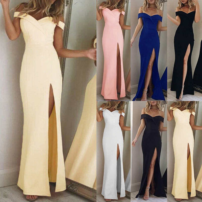 Women Dress Boat Neck Split Female Dresses Party Ball Form Wedding Formal Dress Solid