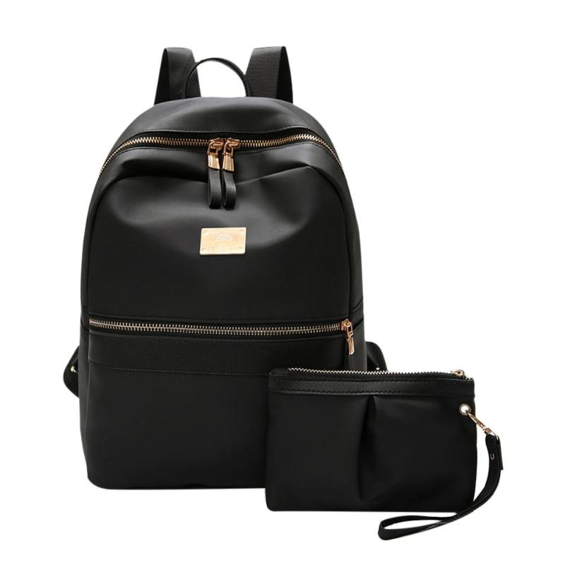 2pcs/set Fashion Women Backpack Set Black Bagpack With Small Bag PU Leather School Bag For Ladies Bags For Woman Mochilas Mujer
