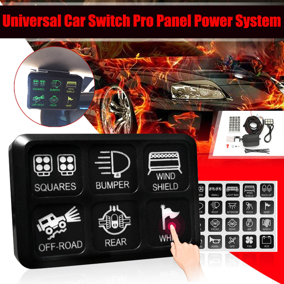 1 Set Switch Pro 6 Switch User Programmable Panel Power System For Jeep for Wrangler