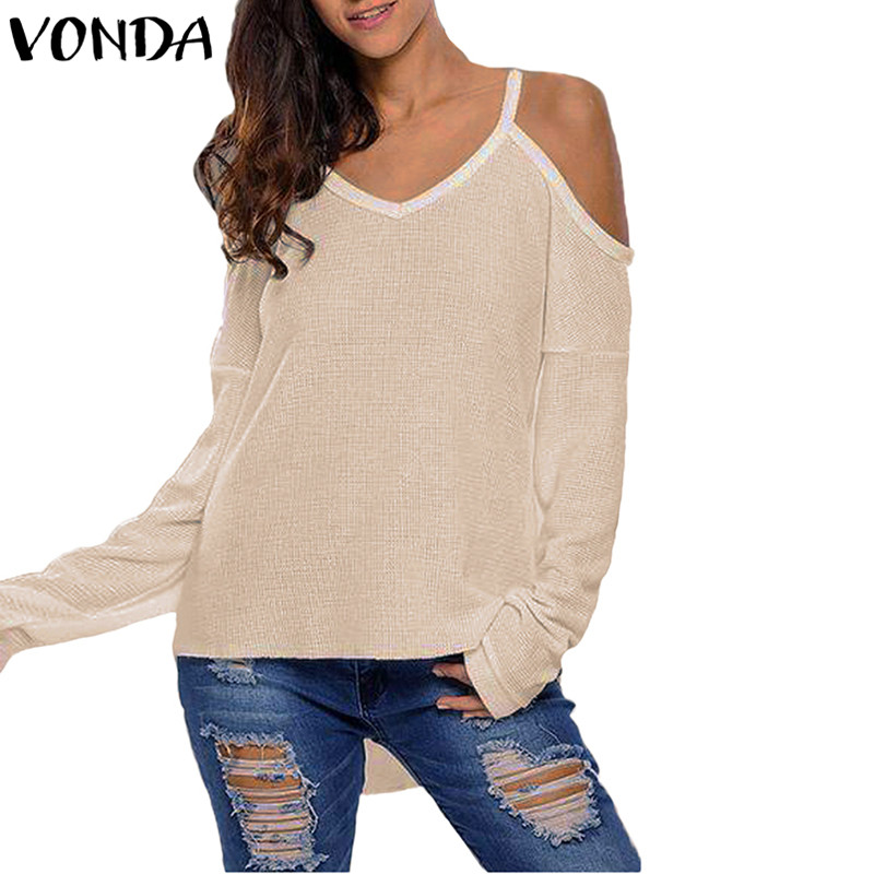 2018 Autumn Sweater Women Sexy V Neck Off Soulder Long Sleeve Pullover Irregular Hem Knitwear Causual Loose Blusas Female Tops