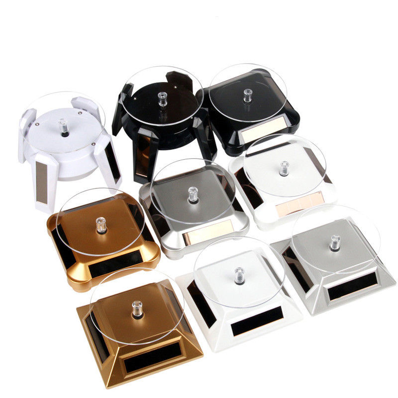 Solar Showcase 360 Turntable Rotating Jewelry Watch Bracelet Ring Necklace Display Stand Toy Display