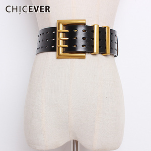 Image 1 - CHICEVER Autumn Vintage Fashion Cowskin Leather Belts Female Hollow Out Wide Belts For Women Korean Style Tide 2020