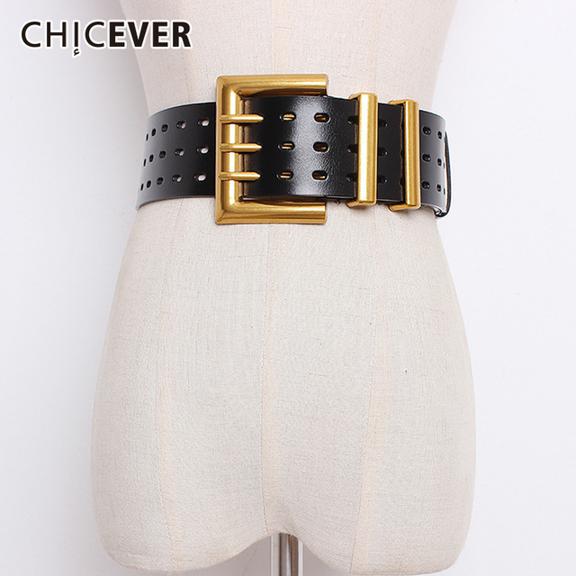 CHICEVER Autumn Vintage Fashion Cowskin Leather Belts Female Hollow Out Wide Belts For Women Korean Style Tide 2020